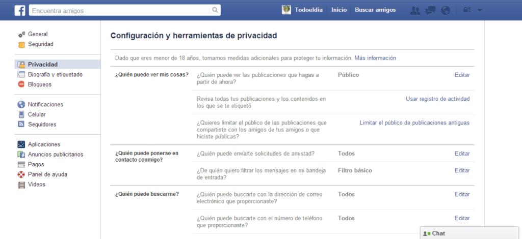 Configuracion y privacidad publico