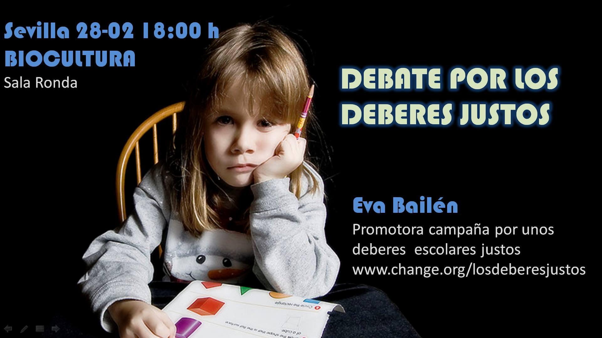 Debate por los deberes justos. Biocultura (Sevilla) 2106